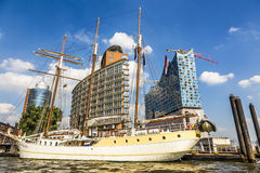 Concert hall Elbphilharmonie under construction with sailor Mar Royalty Free Stock Photos