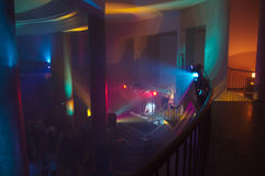 Concert hall with lights. Concert hall with different lights and dj royalty free stock images