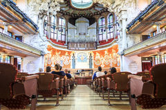 Concert Hall in Music Palace by Gaudi, Barcelona, Spain Stock Photo