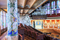 Concert Hall in Music Palace by Gaudi, Barcelona, Spain Stock Images
