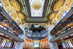 Concert Hall in Music Palace by Gaudi, Barcelona, Spain Royalty Free Stock Images