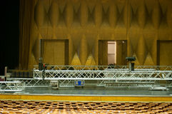 Concert hall in preparations. Concert hall with lots of seats and a imposing stage Stock Image