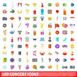 100 concert icons set, cartoon style. 100 concert icons set in cartoon style for any design illustration royalty free illustration