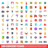 100 concert icons set, cartoon style. 100 concert icons set in cartoon style for any design vector illustration Royalty Free Stock Photos