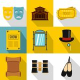 Concert icons set, flat style. Concert icons set. Flat illustration of 9 concert vector icons for web Royalty Free Stock Photography