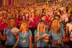 Concert of Latvian Youth Song and Dance Celebration. RIGA, LATVIA - JULY 10, 2010: Grand Concert of Latvian Youth Song and Dance Celebration in the Grand Stage Royalty Free Stock Photo