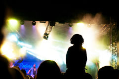 Concert lighting and audience. People in the audience at padina fest 2015 with mist and lights stock images