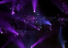 Concert lights. Indoor with sound and light equipment in Italy stock images