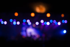 Concert lights bokeh. Holiday lighting spectacular weather royalty free stock photos