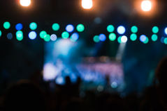 Concert lights bokeh. Holiday lighting spectacular weather stock photography