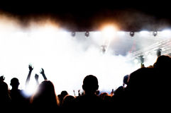 Concert lights and crowd Royalty Free Stock Image