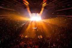 Concert lights. With many people royalty free stock photography