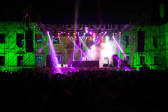 Concert. Lights at night with people Stock Image