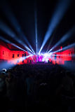 Concert. Lights at night with people Royalty Free Stock Image
