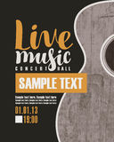 Concert live music with a guitar. Vector banner for the concert live music with a guitar Royalty Free Stock Photo