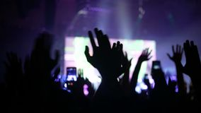 Concert mobile crowd. Concert live streaming mobile phone and crowd stock video footage