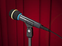 Concert microphone is on the stand on curtain background 3d ill Royalty Free Stock Photos