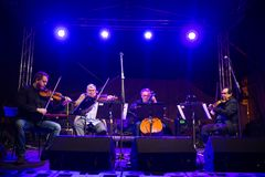 Concert for murdered investigative reporter Jan Kuciak and his fiancée Martina Kusnirova in Pezinok, Slovakia on Apr. 3, 2018 Royalty Free Stock Images