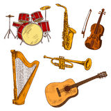 Concert musical instruments colored sketches Royalty Free Stock Photos