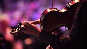 Concert, a musician hand playing the violin, reverse close up shot stock footage