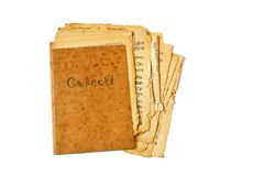 Concert. Old sheet of concert music in murky folder isolated on white Royalty Free Stock Image