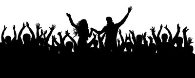 Concert, party. Applause crowd silhouette, cheerful people. Funny cheering, isolated vector royalty free illustration