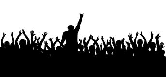 Concert, party. Applause crowd silhouette, cheerful people. Funny cheering. Isolated vector Stock Image