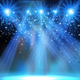 Concert party stage spotlights neon light. Easy editable royalty free illustration