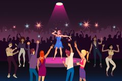 Concert performance, disco party with modern music, nightlife youth event concept