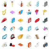 Concert performance icons set, isometric style Royalty Free Stock Photography