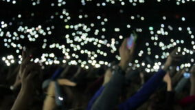 Concert phone lights stock video footage