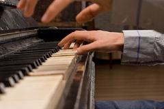 Concert pianist playing the piano Stock Image
