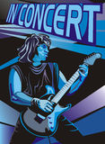 In concert - play the electric guitar Stock Image