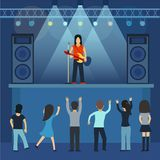 Concert pop group artists on scene music stage night and young rock metall band crowd in front of bright nightclub stage. Lights vector illustration. Nightlife Royalty Free Stock Images
