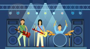 Concert pop group artists on scene music stage night and young rock metall band crowd in front of bright nightclub stage. Lights vector illustration. Nightlife Stock Images