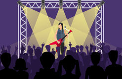 Concert pop group artists on scene music stage night and young rock metall band crowd in front of bright nightclub stage. Lights vector illustration. Nightlife Royalty Free Stock Photos