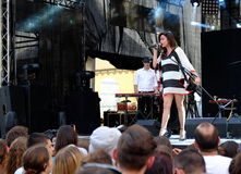 Concert of populal french project Nouvelle Vaguesinger on the Francofolies festival in Blagoevgrad, Bulgaria. 18.06.2016. Concert of populal french project Stock Photos
