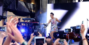 Concert of populal french singer Zaz on the Francofolies festival in Blagoevgrad, Bulgaria. 18.06.2016 Stock Images