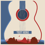 Concert poster of music festival. Vector country music background with guitar Royalty Free Stock Photography