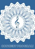 Concert program cover template with treble clef in abstract star shape, white and blue design. Outline flower shape. Print templat. E for music festival, vector Stock Images