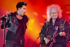 Concert QUEEN + Adam Lambert. WROCLAW, POLAND - JULY 7: Concert Queen + Adam Lambert in the Rock Festival in Wroclaw on July 7, 2012 in Wroclaw, Poland stock photo