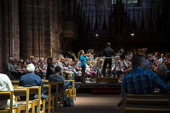 Concert rehearsal in the Cathedral or Minster in Chester England Royalty Free Stock Images