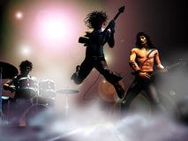 Concert of Rock band. On a scene, several components of a rock band, playing their music royalty free illustration