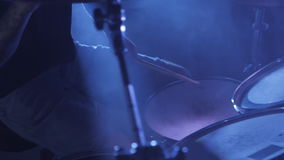 Concert rock band performing on stage with drummer. Music video punk, heavy metal or rock group. Slow motion instrument. Concert rock band performing on stage stock footage