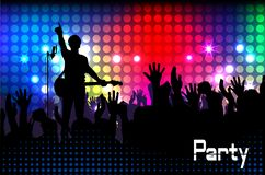 Concert rock performer cheerful naked audience in the hall vector illustration EPS10. vector illustration