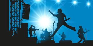 A rock band in concert makes the show in front of its audience royalty free illustration