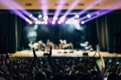 Concert Scene Lights People Full House. Concert Scene Lights Spectators Hands Applause Full House royalty free stock photos