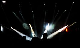 Concert scene. In silhouettes on the whole stage Stock Images
