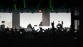 Concert scene. In silhouettes on the whole stage Royalty Free Stock Images