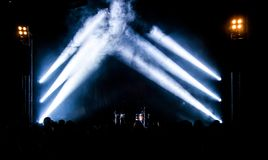 Concert scene. In silhouettes on the whole stage Royalty Free Stock Photo